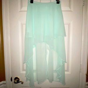 light blue/see green pastel chiffon high low skirt